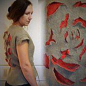 Одежда ручной работы. Ярмарка Мастеров - ручная работа Валяный жилет Осенняя роза. Handmade.