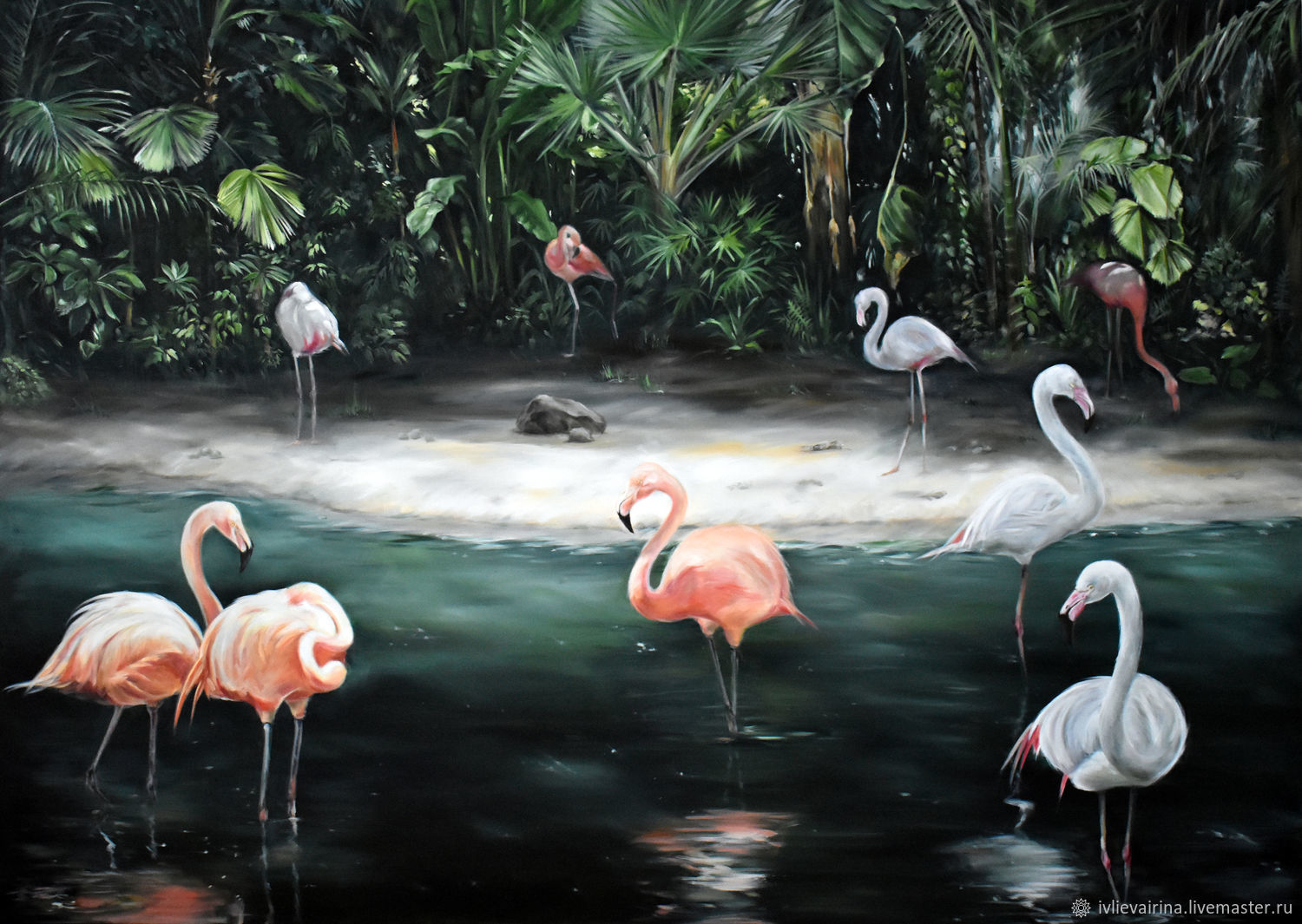 Oil painting 'Landscape with flamingos' 140*100 cm, Pictures, Moscow,  Фото №1