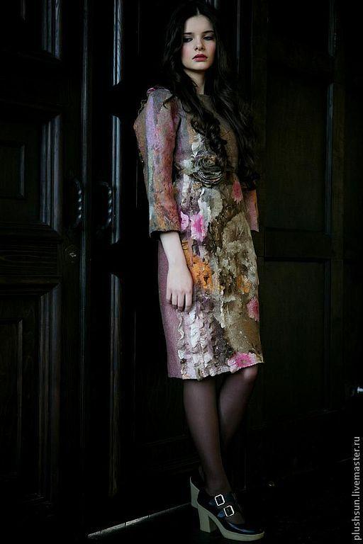 Платья ручной работы. Ярмарка Мастеров - ручная работа. Купить Валяное платье «Под солнцем Тосканы». Handmade. цветы
