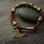 Украшения handmade. Livemaster - original item Bracelet with runes ,bracelet with axe ,the Scandinavian bracelet. Handmade.