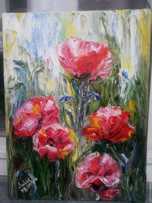 Картины цветов ручной работы. Ярмарка Мастеров - ручная работа. Купить Маки, копия. Handmade. Комбинированный, маки, цветы, Спб