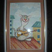 Картины и панно ручной работы. Ярмарка Мастеров - ручная работа акварель.коты, жирафы, слоны,зайцы и другие. Handmade.