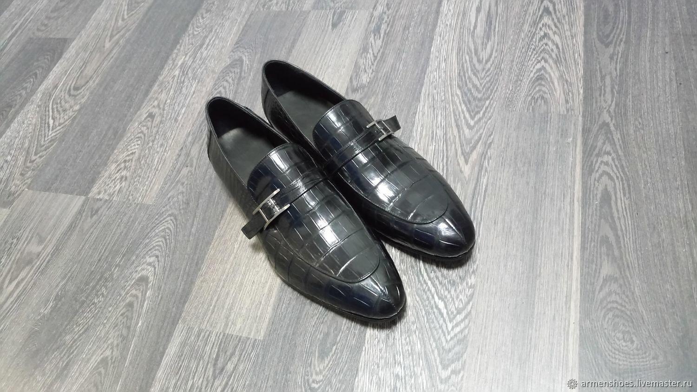 Monki men's crocodile leather, black classic color, Loafers, Tosno,  Фото №1