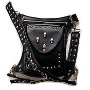 Сумки и аксессуары handmade. Livemaster - original item Waist bag: Hip bag leather with spikes and skulls. Handmade.