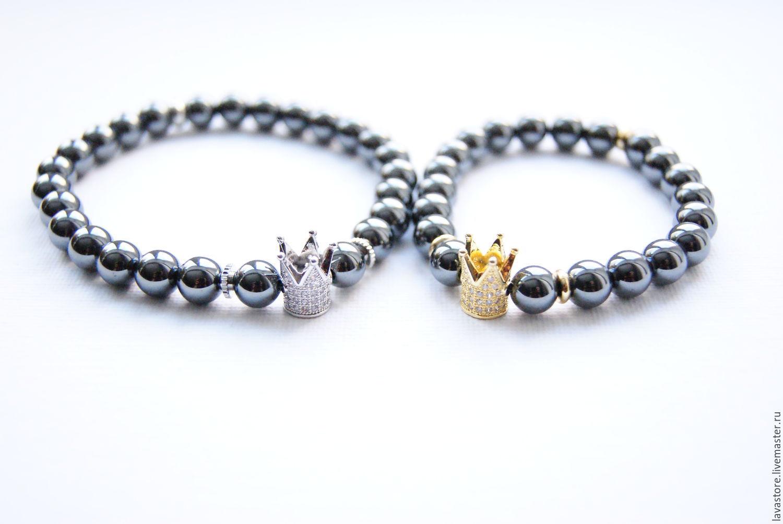 Парные браслеты из гематита Король и Королева