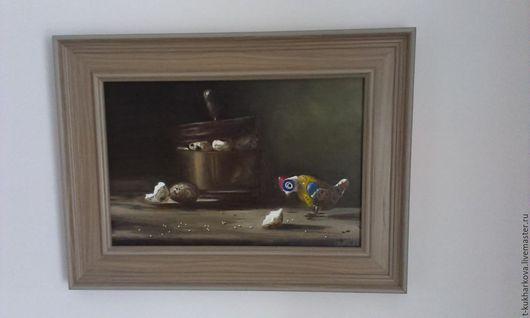 Натюрморт ручной работы. Ярмарка Мастеров - ручная работа. Купить Картина Натюрморт с перепелиными яйцами и игрушечной курицей. Handmade. Коричневый