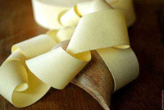 """Шитье ручной работы. Ярмарка Мастеров - ручная работа. Купить Репсовая лента 100% хлопок """"Бледный лимон"""" (Италия). Handmade."""