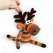 Куклы и игрушки handmade. Livemaster - original item rainbow crocheted toy moose small. Handmade.