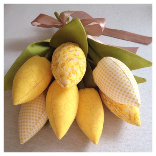 Букеты ручной работы. Ярмарка Мастеров - ручная работа. Купить Тюльпаны желтые. Handmade. Желтый, текстильные тюльпаны, букет, цветы