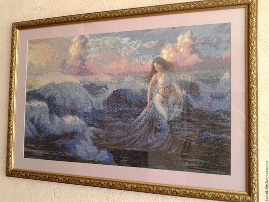 """Люди, ручной работы. Ярмарка Мастеров - ручная работа. Купить Картина вышитая крестом """"Богиня моря"""". Handmade. Разноцветный"""