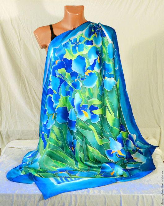 Шали, палантины ручной работы. Ярмарка Мастеров - ручная работа. Купить Платок Синие ирисы Ван Гога. Handmade. Синий