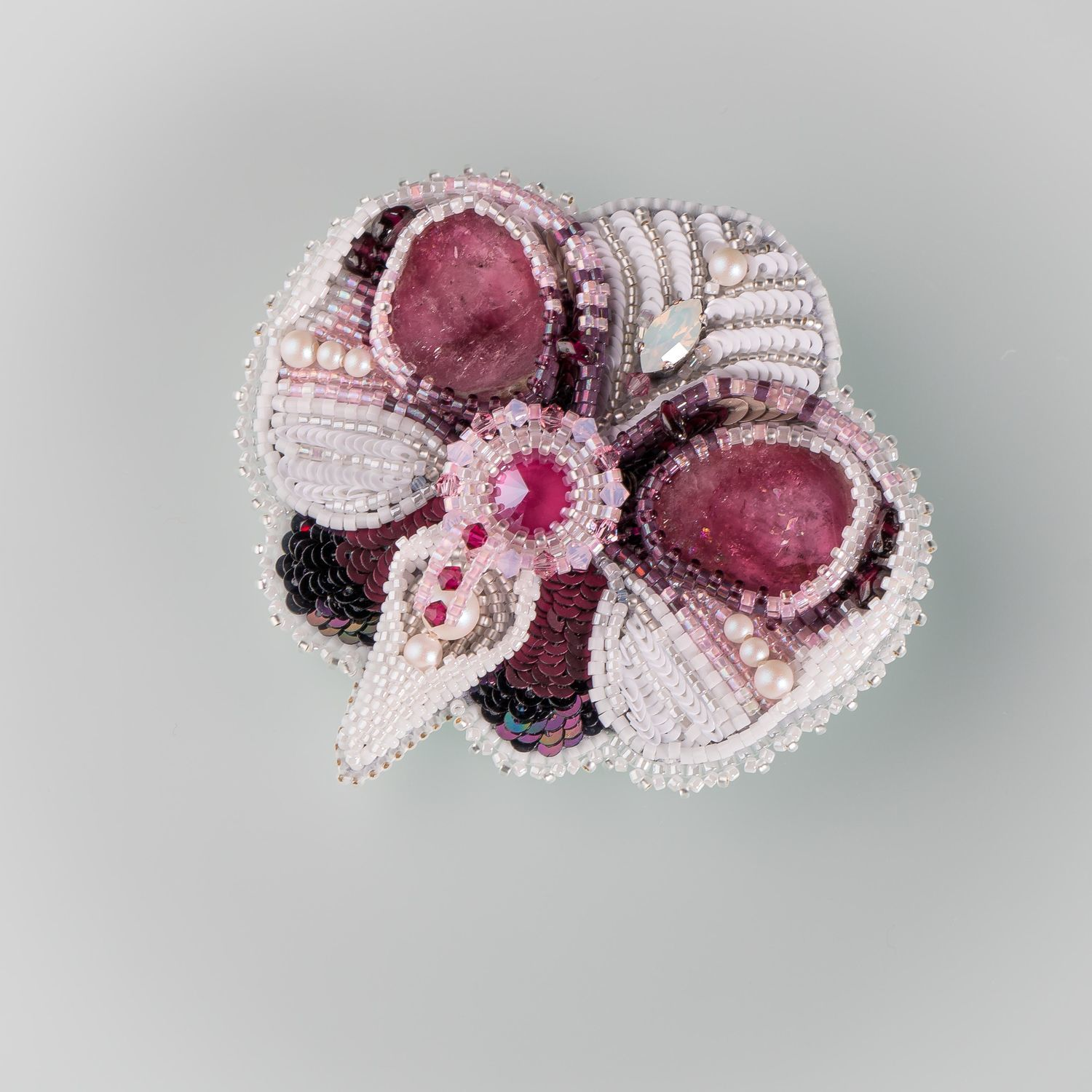 Maroon white. Orchid brooch with tourmaline and pomegranates, Brooches, Krasnoyarsk,  Фото №1
