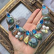 Украшения handmade. Livemaster - original item Necklace of Labradorite, blue Quartz and Pearls. Handmade.