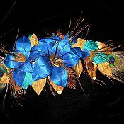 """Украшения ручной работы. Ярмарка Мастеров - ручная работа Украшение для платья или шляпы ветка лилий """"Жар птица"""". Handmade."""