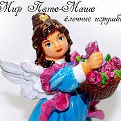 Для дома и интерьера ручной работы. Ярмарка Мастеров - ручная работа Елочная игрушка из папье маше, елочные украшения, ангел фигурка. Handmade.