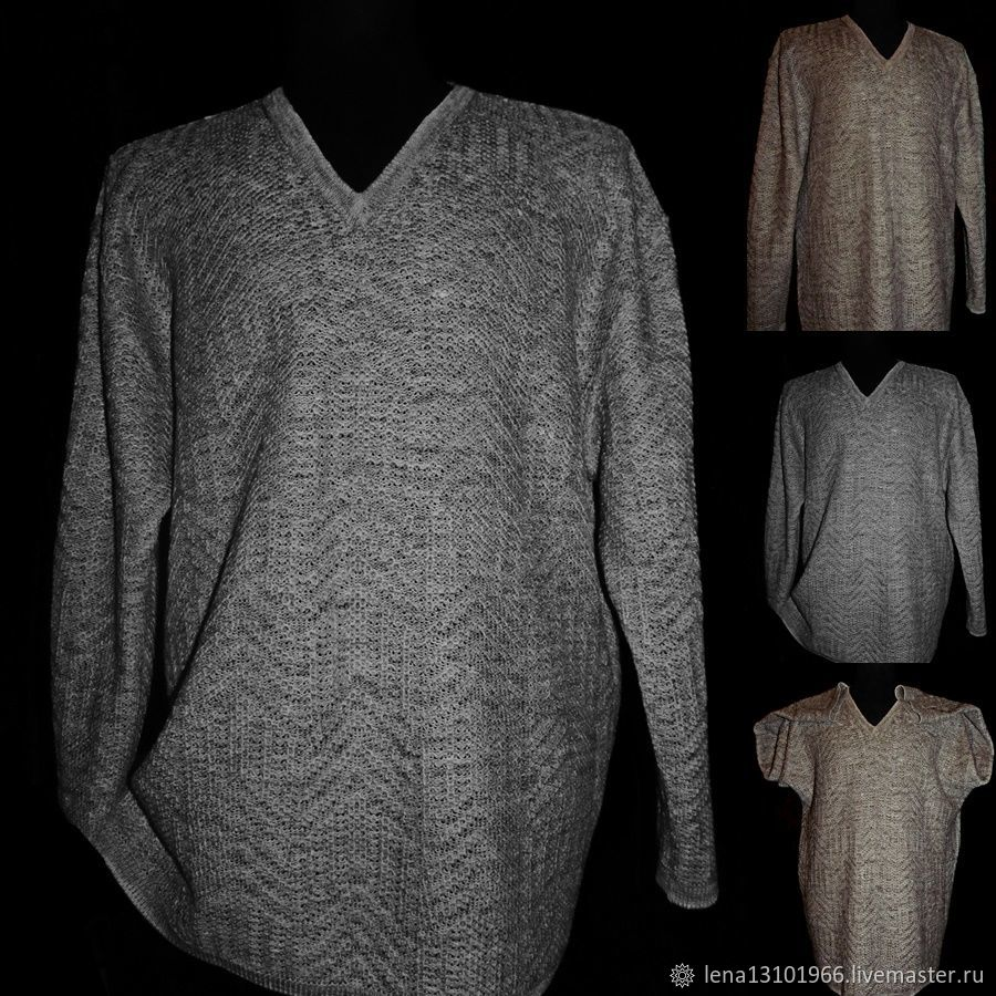 100% Linen.Jumper 'Braid'with a round neck 2000 rubles, Mens jumpers, Kostroma,  Фото №1