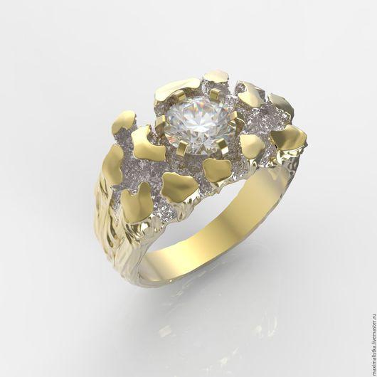 """Кольца ручной работы. Ярмарка Мастеров - ручная работа. Купить Кольцо """"Рождение Карата"""" с бриллиантом, золотое, золото, из золота. Handmade."""