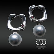 Украшения handmade. Livemaster - original item Pearl earrings mother of pearl and rubies. 925 sterling silver PR.. Handmade.