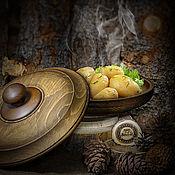 Посуда handmade. Livemaster - original item Wooden dish with a lid made of natural Siberian cedar K44. Handmade.