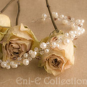 Свадебный салон handmade. Livemaster - original item Thin wedding hair flower ivory color. Handmade.