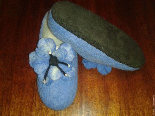 Обувь ручной работы. Ярмарка Мастеров - ручная работа. Купить Тапочки валяные. Handmade. Синий, тапочки из войлока