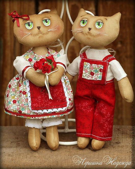 Ароматизированные куклы ручной работы. Ярмарка Мастеров - ручная работа. Купить Летние влюблённые котики. Ароматизированная Кофейная Игрушка. Handmade.