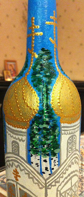 """Бутылка для святой воды. Роспись акриловыми красками. Ручная роспись по стеклу. Роспись керамики. """"Храм. Березки. Троица""""."""