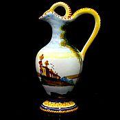 Винтаж handmade. Livemaster - original item Majolica jug with painting Italy. Handmade.