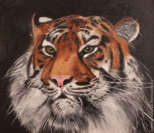 Животные ручной работы. Ярмарка Мастеров - ручная работа. Купить тигр. Handmade. Рыжий, зеленые глаза, холст