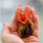 Украшения handmade. Livemaster - original item Physalis brooch with simbircite, coral and beading. Handmade.