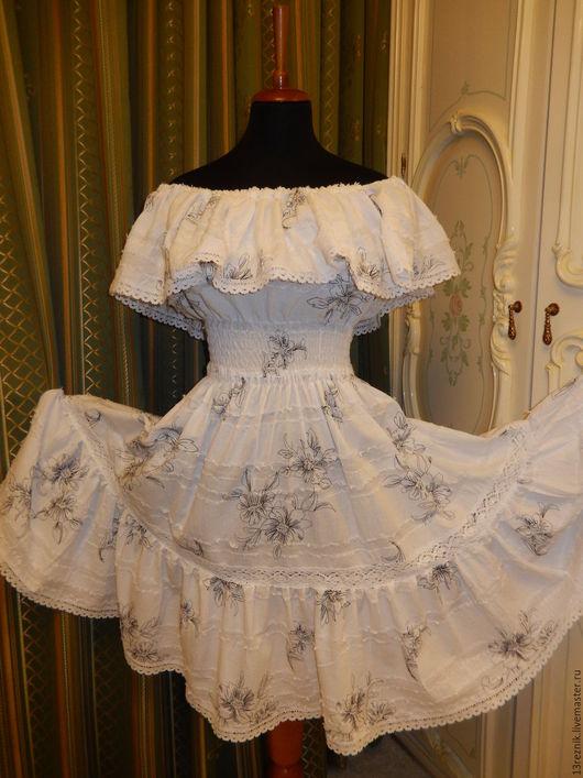Платья ручной работы. Ярмарка Мастеров - ручная работа. Купить Платье хлопковое. Handmade. Чёрно-белый, Синее платье