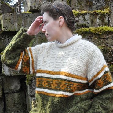 Одежда ручной работы. Ярмарка Мастеров - ручная работа Большой вязаный свитер ручной работы «Прогулка по саду». Handmade.