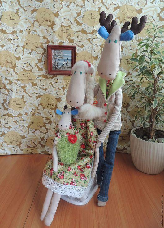 Куклы Тильды ручной работы. Ярмарка Мастеров - ручная работа. Купить Тильда Лось Счастливая семья. Handmade. Тильда лось