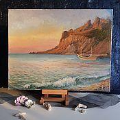 Картины и панно handmade. Livemaster - original item Seascape Sunrise on the coast. Oil painting. Handmade.