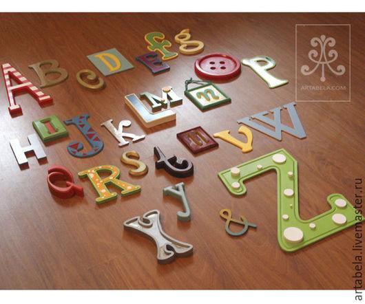 Интерьерные слова ручной работы. Ярмарка Мастеров - ручная работа. Купить Алфавит. Handmade. Комбинированный, алфавит из пластика, оформление детской