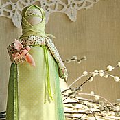 Куклы и игрушки handmade. Livemaster - original item Vesnushka (Spring), russian traditional doll, light green, green. Handmade.