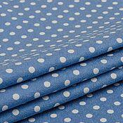 Материалы для творчества ручной работы. Ярмарка Мастеров - ручная работа Джинсовая ткань   стрейч  голубая в горошек  PINKO. Handmade.