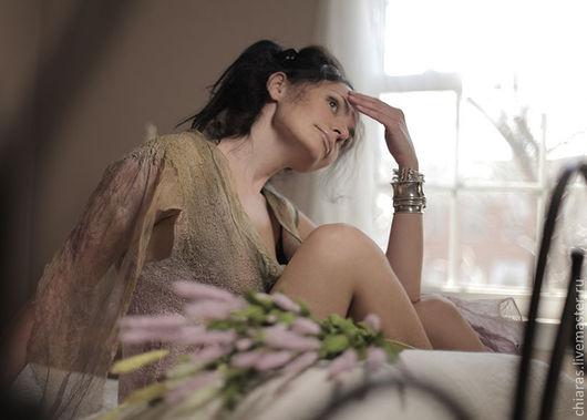 """Платья ручной работы. Ярмарка Мастеров - ручная работа. Купить авторское платье из шелка и шерсти """"Fleur"""". Handmade. Кремовый, шерсть"""