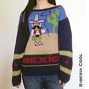 Одежда handmade. Livemaster - original item Sweater womens Mexican, blue, beige, blue,100% wool Merinos. Handmade.