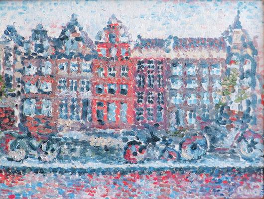 """Город ручной работы. Ярмарка Мастеров - ручная работа. Купить Картина """"Дождливый день в Амстердаме"""" - масло, холст. Handmade. Картина"""