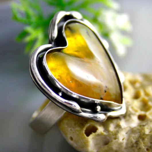 """Кольца ручной работы. Ярмарка Мастеров - ручная работа. Купить Кольцо """"Медовое Сердечко"""" - желто-оранжевый опал, серебро. Handmade."""