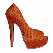 Обувь ручной работы handmade. Livemaster - original item Sandals from Python ORANGE. Handmade.