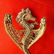 Украшения ручной работы. Ярмарка Мастеров - ручная работа Брошь золотой дракон. Handmade.