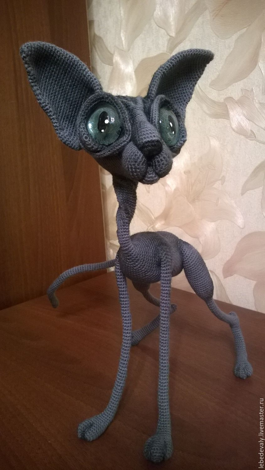 Sphinx hairless cat in grey color with blue eyes, Stuffed Toys, Surgut,  Фото №1