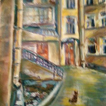 """Картины и панно ручной работы. Ярмарка Мастеров - ручная работа """"Питерский дворик.Чужой"""". Handmade."""