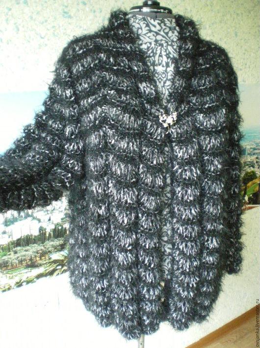 """Кофты и свитера ручной работы. Ярмарка Мастеров - ручная работа. Купить Кардиган вязаный """" Серо-черные дольки"""". Handmade."""