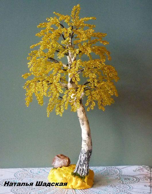 Деревья ручной работы. Ярмарка Мастеров - ручная работа. Купить Осенняя березка из бисера. Handmade. Желтый, осенняя береза, бисер