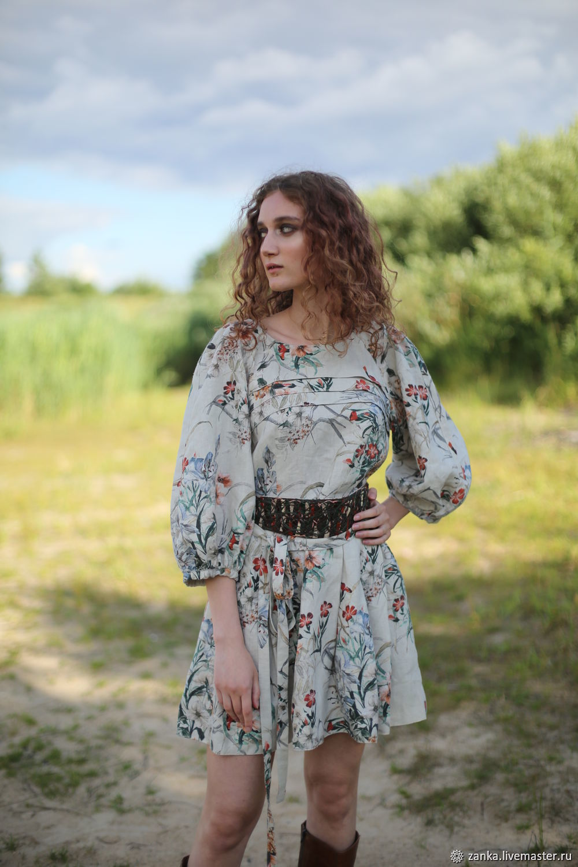 Linen dress 'Meadow flowers' light, Dresses, Baranovichi,  Фото №1