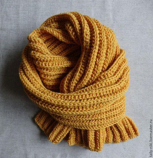 Шарфы и шарфики ручной работы. Ярмарка Мастеров - ручная работа. Купить Желтый шарф ручной вязки. Handmade. Шарф