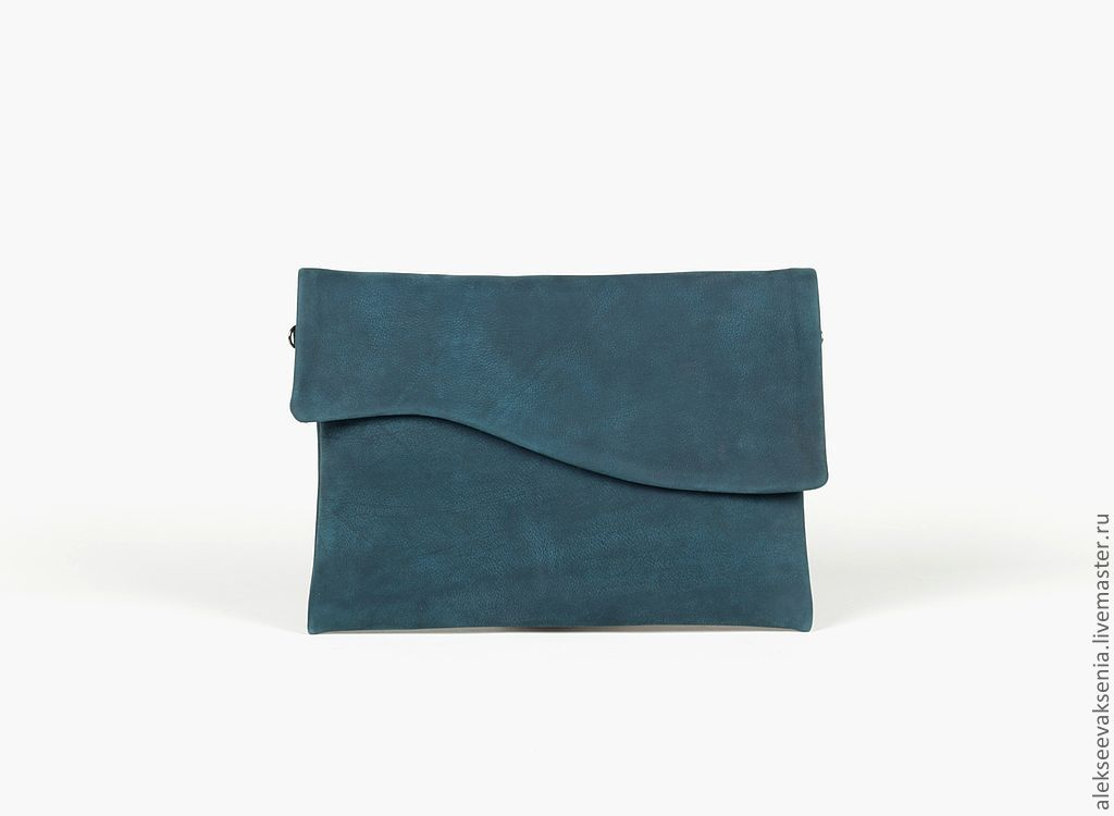 Clutch bag genuine leather dark sea postponed, Clutches, St. Petersburg,  Фото №1